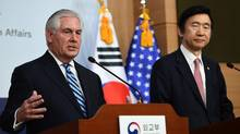 U.S. Secretary of State Rex Tillerson speaks as South Korean Foreign Minister Yun Byung-Se looks on during a press conference in Seoul on March 17, 2017. (JUNG YEON-JE/AFP/Getty Images)