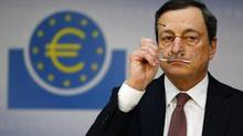 Mario Draghi, president of the European Central Bank (ECB), addresses the media during his monthly news conference in Frankfurt in this January 10, 2013 file photo. (KAI PFAFFENBACH/REUTERS)