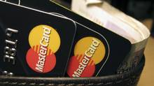 MasterCard credit cards are seen in this illustrative photograph taken in London December 8, 2010. (JONATHAN BAINBRIDGE/Reuters)