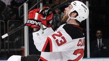 New Jersey Devils' David Clarkson celebrates after scoring during the third period of Game 2 of the NHL hockey Stanley Cup Eastern Conference final playoff series. (Frank Franklin II/Associated Press)