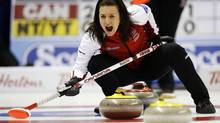 Team Canada skip Heather Nedohin calls a shot against Northwest Territories/Yukon during the sixteenth draw at the Scotties Tournament of Hearts curling championship in Kingston, February 22, 2013. (MARK BLINCH/REUTERS)