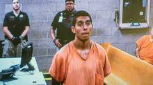 Alex Rios, 18, makes an appearance on video for an arraignment in Albuquerque on July 21, 2014. (ROBERTO E. ROSALES/ALBUQUERQUE JOURNAL/ASSOCIATED PRESS)