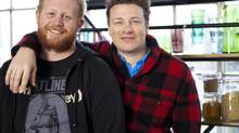 Derek Dammann, left, and Jamie Oliver in London (Xavier Girard Lachaine for The Globe and Mail)
