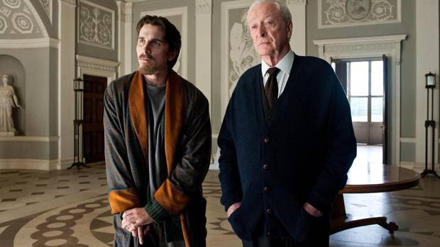 Christian Bale as Bruce Wayne, left, and Michael Caine as Alfred. (Ron Phillips/AP)