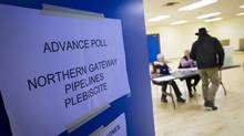 The poling station in Kitimat on April 9, 2014, the last day of advance voting for the plebiscite to gauge community support for Enbridge's Northern Gateway pipeline project. (John Lehmann/The Globe and Mail)