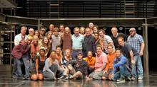 Andrew Lloyd Webber with the cast of Jesus Christ Superstar on the stage of the Stratford Shakespeare Festival's Avon Theatre, after the Lord Lloyd Webber attended the Saturday evening performance. (Terry Manzo/Terry Manzo / CP)