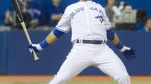 Toronto Blue Jays' Jose Bautista backs off from an inside pitch in the sixth inning of their baseball game against the Cleveland Indians in Toronto April 3, 2013. (FRED THORNHILL/REUTERS)