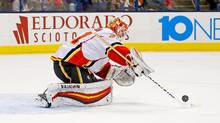 Chad Johnson #31 of the Calgary Flames makes a save during the second period of the game against the Columbus Blue Jackets on November 23, 2016 at Nationwide Arena in Columbus, Ohio. Johnson stopped 34 shots as Calgary defeated Columbus 2-0. (Kirk Irwin/Getty Images)