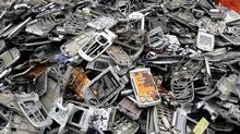 Cellphones readied for recycling. (LEE JIN-MAN/AP)