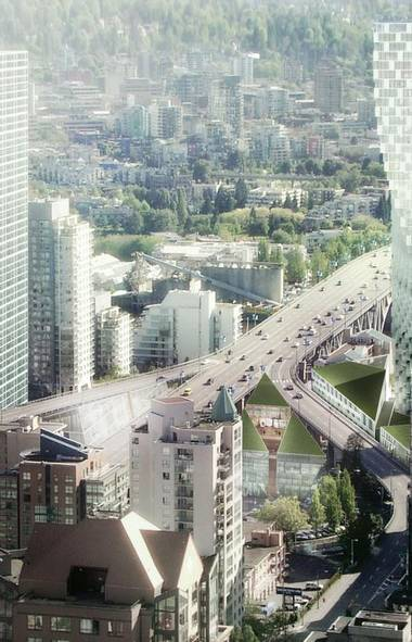 A new playful tower, seen in this rendering from the Bjarke Ingels Group, is planned for the north end of the Granville Bridge. Vancouver developer Ian Gillespie has hired the renowned Danish architecture firm to transform the challenging industrial area. In this view looking south, the tower hugs the bridge at the intersections of Beach and Howe, creating a distinctive new entrance to Vancouver's downtown. (Bjarke Ingels Group)