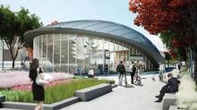 An artist's rendering of the entrance to the subway station in Vaughan, north of Toronto. The station will be built at the end of the Yonge-University-Spadina subway line which is being extended to the planned Vaughan Metropolitan Centre at Jane Street and Highway 7. (Calloway and Smart Centres)
