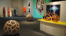 """A view of the """"contemporary"""" room at the Art Gallery of Mississauga's Jamaican art exhibition."""
