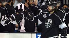Los Angeles Kings defenceman Drew Doughty celebrates with teammates after scoring a goal against the New York Rangers in the second period during Game 1 of the 2014 Stanley Cup final at Staples Center. (USA TODAY Sports)