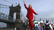 Democratic candidate Hillary Clinton greets supporters of her historic campaign during a rally at Smale Riverfront Park in Cincinnati on Monday. (Justin Sullivan/Getty Images)