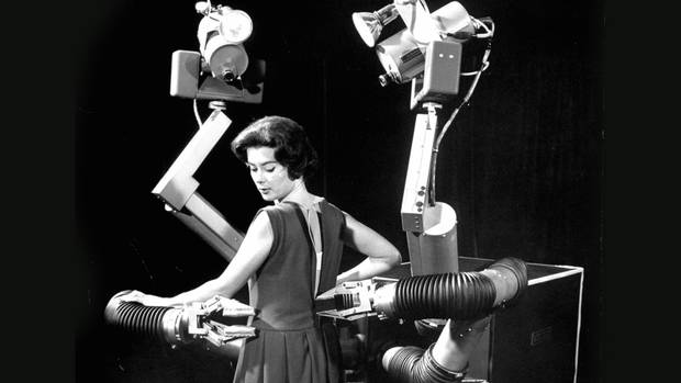 Mobot the magnificent mobile robot invented by Hughes Aircraft Electronic Labs. (J. R. Eyerman/The LIFE Picture Collection/Getty Images)