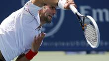 Novak Djokovic of Serbia hits a return to Juan Martin Del Potro of Argentina during their men's singles semi-final match at the Cincinnati Open tennis tournament in Cincinnati, Ohio August 18, 2012. (JOHN SOMMERS II/REUTERS)