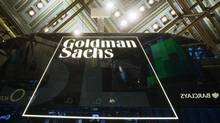 A Goldman Sachs sign is seen above the floor of the New York Stock Exchange shortly after the opening bell in the Manhattan borough of New York January 24, 2014. (© Lucas Jackson / Reuters)