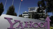 This Wednesday, Oct. 17, 2012, photo, shows a sign in front of Yahoo! headquarters in Sunnyvale, Calif. (Marcio Jose Sanchez/AP)