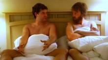 Mark Duplass and Joshua Leonard are old college pals who reunite to make an amateur porn film in the comedy Humpday.