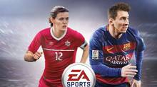 The Canadian cover of FIFA 16 shows Canadian soccer captain Christine Sinclair on the cover with Barcelona star Lionel Messi. (HO/THE CANADIAN PRESS)