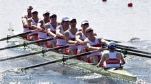 Canada's, right to left, Brain Price, Will Crothers, Jeremiah Brown, Andrew Byrnes, Malcolm Howard, Conlin McCabe, Rob Gibson, Douglas Csima, and Gabriel Bergen during a men's rowing eight heat in Eton Dorney, near Windsor, England, at the 2012 Summer Olympics, Saturday. (Armando Franca/Associated Press)