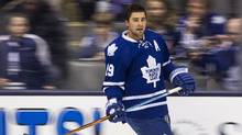 Toronto Maple Leafs Joffrey Lupul warms up against the New York Islanders in Toronto, Monday March 9, 2015. (Mark Blinch For the Globe and Mail)