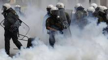 Riot police in Athens (YIORGOS KARAHALIS)