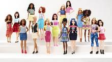 New Barbie doll body shapes of petite, tall and curvy are seen with the traditional Barbie in a photo released by Mattel on January 28, 2016. (HANDOUT/REUTERS)