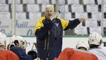 In this April 30, 2016, file photo, St. Louis Blues head coach Ken Hitchcock speaks to players during practice for Game 2 of the Stanley Cup Western Conference semifinals in Dallas. The Dallas Stars are expected to name Hitchcock their new head coach, according to a source. (LM Otero/AP)
