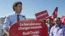 Liberal Leader Justin Trudeau addresses supporters during a campaign stop on Friday, Sept. 18, 2015, in Montreal. (Paul Chiasson/The Canadian Press)