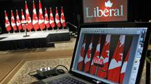 A streaming video link awaits Liberal supporters at Michael Ignatieff's election-night headquarters in Toronto on May 2, 2011. (Peter Power/Peter Power/The Globe and Mail)