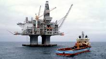 Petro-Canada holds a 20 per cent interest in Hibernia, the first Grand Banks development. Hibernia produces oil from a concrete platform. (Petro-Canada/Petro-Canada)
