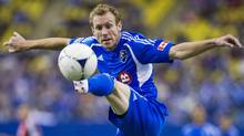 Montreal Impact's Tyson Wahl takes the ball down during first half MLS soccer action against Toronto FC in Montreal, Saturday, April 7, 2012. (The Canadian Press)