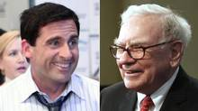 Steve Carell as Michael Scott, left, and Warren Buffett