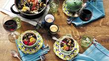White-bean and beet-green cassoulet with rainbow beets and crispy shallots. Recipe by Bonnie Reichert; food styling by Heather Shaw; prop styling by Oksana Slavutych. (Maya Visnyei for The Globe and Mail)
