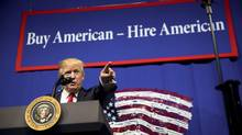 President Donald Trump speaks at Snap-On Tools in Kenosha, Wis., April, 18, 2017. Trump was to sign the 'Buy American, Hire American' executive order here as well. (DOUG MILLS/NYT)