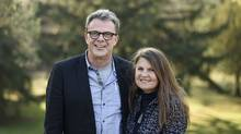 Kevin Garratt and his wife Julia pose for a portrait in the backyard of a home they're staying at after returning to Canada. (Fred Lum/The Globe and Mail)
