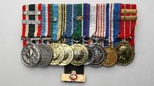 Veteran Tom White medals (L-R) Special Service Medal-2 Bars, Canadian Peace Service Medal, United Nations Emergency Force 1, United Nations Truce Supervision - Palestine, United Nations- Congo, Queen's Silver Jubilee, Canada 125th Birthday, Queen's Golden Jubilee, Canadian Decoration- 2 Bars, and (bottom) Minister of Veterans Affairs Commendation , taken 9 November 2010. (Paul Darrow for The Globe an Mail/Paul Darrow for The Globe an Mail)