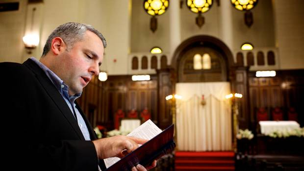 Cantor Gideon Zelermyer, of the Shaar Hashomayim congregation in Westmount, is seen in the Sanctuary of the Shaar on Oct. 25. Zelermyer collaborated with Leonard Cohen on two songs from his most recent album, You Want It Darker.