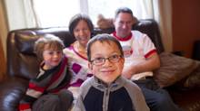 Isaac McFadyen, who was born with MPS VI, at home with his family in Campbellford, Ont. (Kevin Van Paassen/The Globe and Mail)