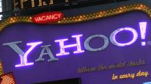 A Yahoo! billboard is seen in New York's Time's Square January 25, 2010. (BRENDAN MCDERMID/REUTERS/Brendan McDermid)