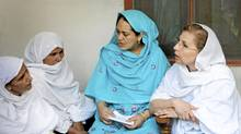 Zebu Jilani, right, speaks to women in Swat Valley, Pakistan, in July, 2010. (Charla Jones for The Globe and Mail)