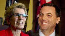 Ontario Premier Kathleen Wynne and Progressive Conservative Leader Tim Hudak. (PETER POWER AND DEBORAH BAIC/THE GLOBE AND MAIL)