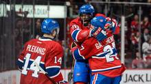 P.K. Subban (76) of the Montreal Canadiens celebrates his goal with teammates Tomas Plekanec (14) and Alex Galchenyuk (27) during the NHL game against the Edmonton Oilers at the Bell Centre on February 6, 2016 in Montreal, Quebec, Canada. (Minas Panagiotakis/Getty Images)