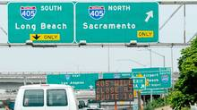 Traffic flows on Interstate 10 and Interstate 405 one week before the 11-mile, 53-hour shut down of Interstate 405 for the demolishment of a bridge starting on July 16. (Kevork Djansezian/Getty Images/Kevork Djansezian/Getty Images)