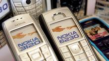 Nokia cellular phones are seen on display at wireless store August 8, 2005 in San Mateo, California. (Justin Sullivan/Getty Images)
