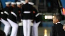 Barack Obama attends a transfer ceremony for the remains of Ambassador Chris Stevens and three others killed this week in Libya. (JASON REED/REUTERS)