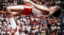 Twenty-year-old Greg Joy of Vancouver clears the high jump during Olympic finals competition Aug. 11, 1976 in Montreal. Joy won the silver medal in the event. (FRED CHARTRAND/Canadian Press)