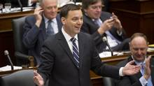PC leader Tim Hudak speaks at Queen's Park in Toronto on Tuesday Feb. 18, 2014. (Kevin Van Paassen/The Globe and Mail)