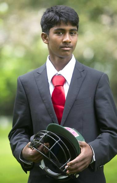 Sabes Rasanayagam, 17, one of a dozen Toronto youth selected to participate in the sixth annual Cricket Across the Pond program, July 4, 2013. (Kevin Van Paassen/The Globe and Mail)